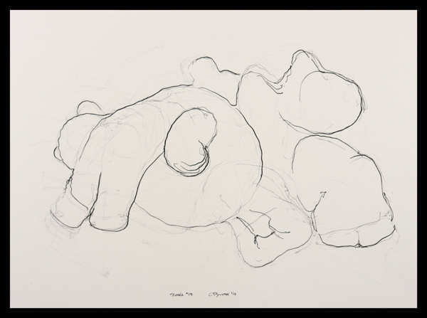 Cris Bruch, Tussle #13, 2010, ink on paper, 14.5 x 20.5