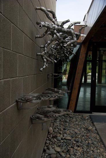 Cris Bruch, South Branch and Puddles, 2011, stainless steel